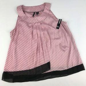 New Directions Sleeveless Pink/Blk Polka Dot Top